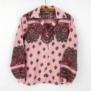 Vintage Boho 70s Button Down Shirt Pink Paisley